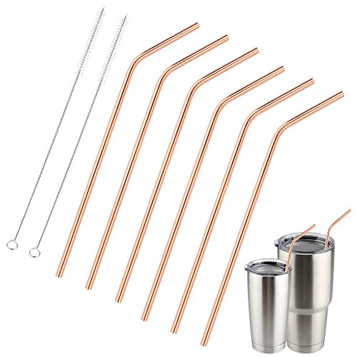 Accmor Reusable Copper Drinking Straws, 18/8 Stainless Steel 10.5inch Extra Long Bend Straws Set of 6, for 20 & 30oz YETI RTIC OZARK TERVIS Tumbler Cups, with 2 Cleaning Brushes