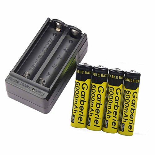 4PCS 3.7V li-on Rechargeable 6000mah 18650 Battery + 1PC 18650 Battery Charger