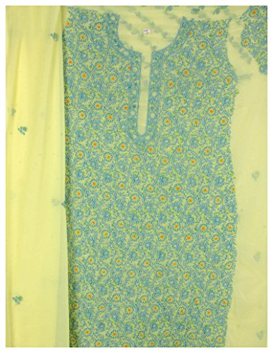 Exotic India Yellow Salwar Kameez Fabric from Lucknow with all Over Chikan Embro