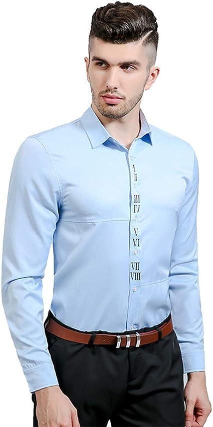 Uiophjkl Camisa de la Solapa del Cuerpo del Color sólido de la impresión Digital árabe del umbral de la Personalidad de los Hombres Camisa de Manga Larga (Color : Azul, tamaño :