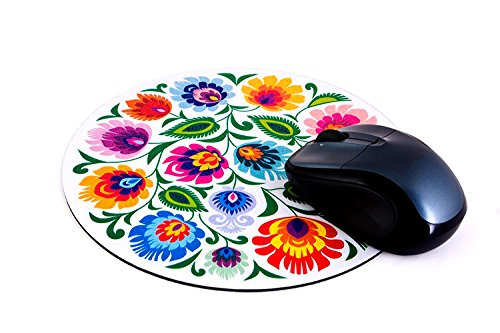 Polish Folk Round Mouse Pad (White Lowicz Folk)