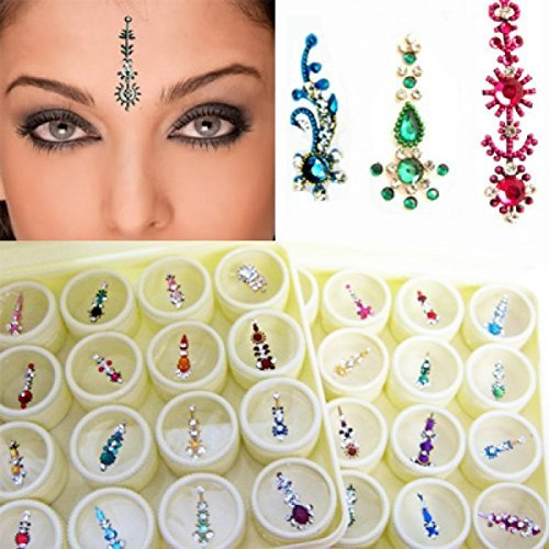 Bindi Box Long Multicolored Crystal Bindis Bridal face Jewels Forehead Tika (Pack of 12 Bindis - With Extra -
