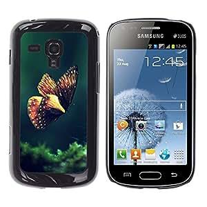 [Neutron-Star] Snap-on Series Teléfono Carcasa Funda Case Caso para Samsung Galaxy S Duos S7562 [Mariposa de Primavera de la mañana Verde Naturaleza]