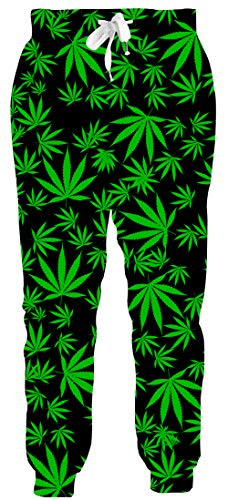 Leapparel 1990s Men Plus Size 3D Hemp Leaf joggering Pants Elastic Drawstring Hip Hop Clothes Outdoor Running Gym Working Rock S