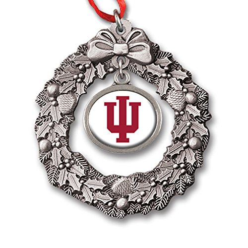 Indiana University Block IU Wreath Charm Ornament IUOR2331 IMC-Retail