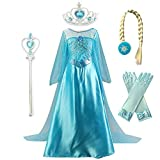 Kuzhi Princess Elsa Anna Cosplay Costume with Crown Wand Gloves and Wig (M)