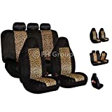 FH Group FB126115 Classic Leopard Full Set Car Seat Covers, Airbag Compatible, Leopard Color- Fit Most Car, Truck, SUV, or Van