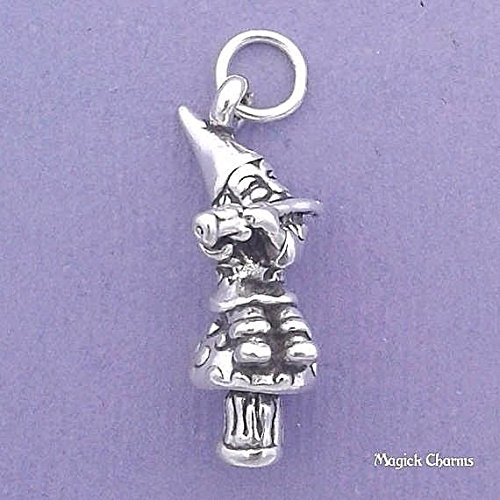 925 Sterling Silver 3-D Garden GNOME Playing Flute On Mushroom Charm Jewelry Making Supply, Pendant, Charms, Bracelet, DIY Crafting by Wholesale Charms