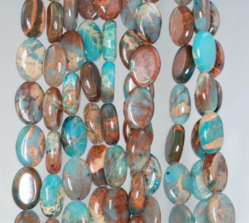 - 14X10MM Imperial Jasper Gemstone Blue Brown Oval 14X10MM Loose Beads 7.5'',