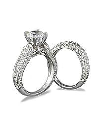 TOP GRADE 2 CARATS SIMULATED DIAMOND VICTORIAN DESIGNER RING SET 925 SILVER