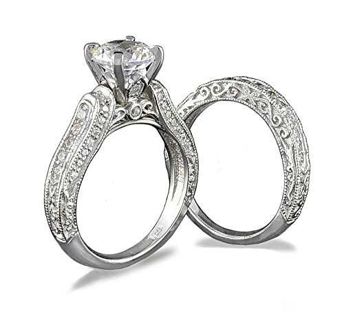 Venetia Top Grade Realistic Hearts and Arrows Cut 2 Carats Simulated Diamond Victorian Pave Ring Set 925 Silver Platinum Plated Cubic Zirconia cz shou6 (2 Carat Cushion Cut Pave Engagement Ring)