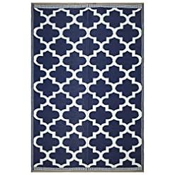 "Garden and Outdoor Beverly Rug Outdoor Reversible Plastic Area Rug – 9'10"" x 13″0′ – Trellis- Blue/White outdoor rugs"
