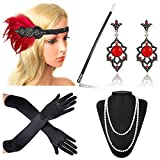 Beelittle 1920s Accessories Headband Earrings Necklace Gloves Cigarette Holder (F5)