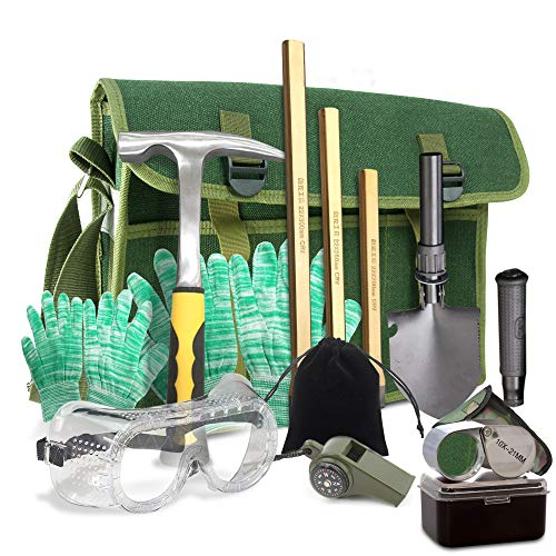 Rock Hounding & Gem Mining Geology Tool Kit (12-Pc Rock Prospecting Set) w/Rock Pick Hammer, 3 Piece Digging Chisel Set, Gloves, Musette Bag, Compass & Whistle, Goggles, Shovel Set & Jewelry Loupe