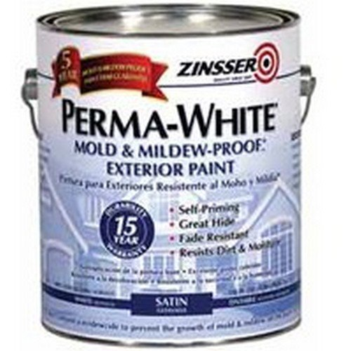 Zinsser Perma-White Mold & Mildew-Proof Exterior Acrylic Paint Exterior Satin White 1 Gl 15 Yr