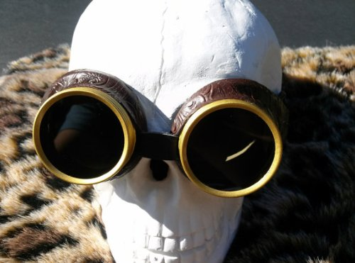 Steampunk Goggles - Brown Faux Leather with Dark - Eyewear Dl