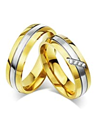 KnBoB Women Men Rings Stainlss Steel Round Crystall High Polished Wedding Bands Silver Gold