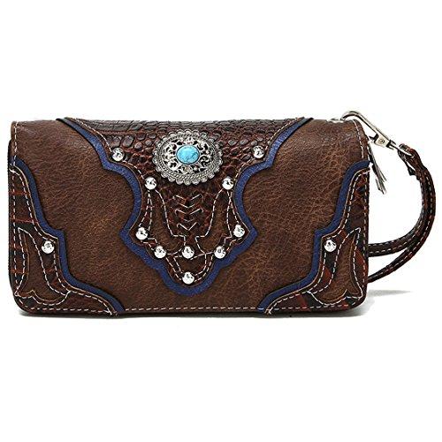 Conchos Studded Crocodile Laser Cut Cowgirl Western Style Country Purse Wrist Strap Women Wristlet Wallet (Brown)