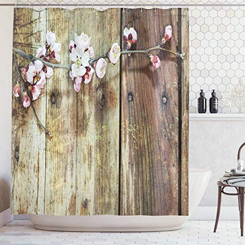 Ambesonne Rustic Home Decor Shower Curtain, Stained Walnut Branch with Soft Twiggy Swirling Flower Leaves Concept, Fabric Bathroom Decor Set with Hooks, 70 Inches, Pink Brown (Fabric Curtain Branch Shower)