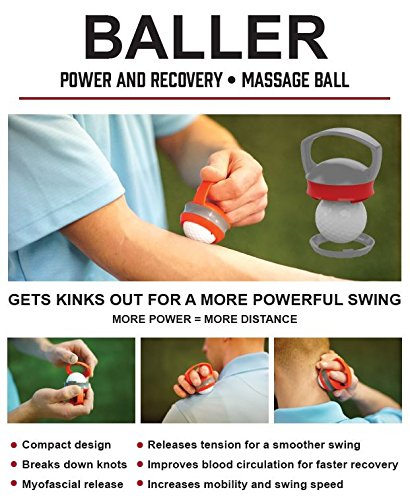 Rival and Revel Unisex The Baller - Golf Ball Massager Power & Recovery Golf Ball Massager, Gray X Red, Take With You Everywhere