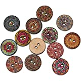 Souarts Mixed Random Shinning Pattern Round 2 Holes Wood Wooden Buttons for Sewing Crafting 15mm Pack of 200