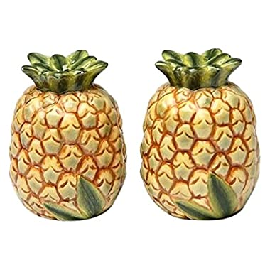 CG Identical Pair of Pineapple Salt and Pepper Shakers, Yellow