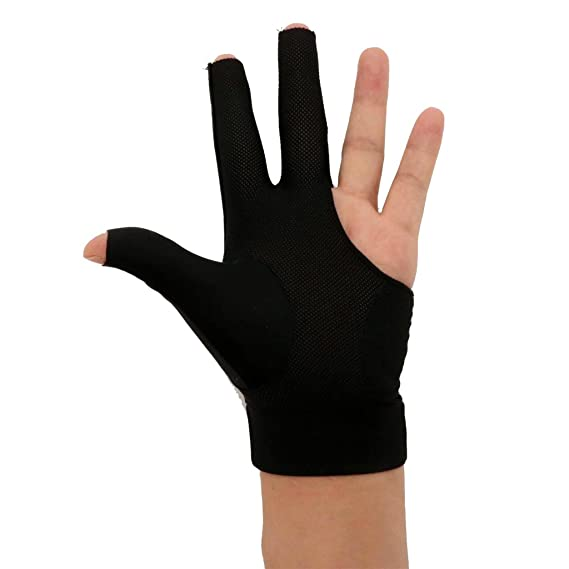 MagiDeal 3-Finger Sweat Absorbing Breathable High Stretchy Fingertip Cut Snooker Pool Billiard Glove for Left Hand