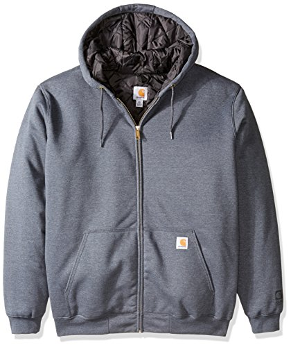 Quilted Hooded Zip Sweatshirt - Carhartt Men's Big & Tall Rain Defender Avondale Midweight 3 Season Sweatshirt, Charcoal Heather, 2X-Large/Tall