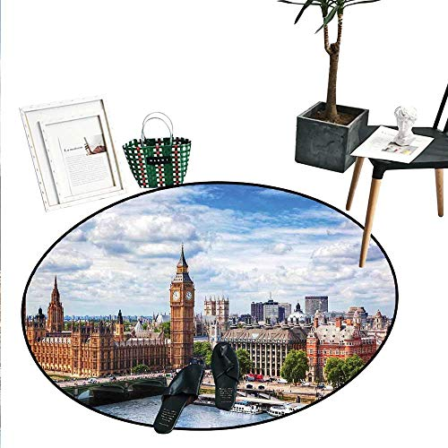 (London Dining Room Home Bedroom Carpet Floor Mat Extensive Cityscape with Big Ben Westminster Bridge on River Thames and Clouds Image Soft Area Rugs (4'2