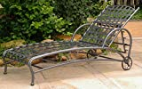 Iron Multi-Position Patio Chaise Lounge in Pewter