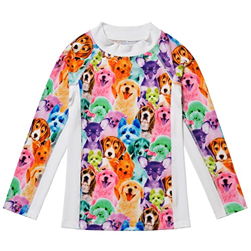 Jxstar Little Girls Collared Long Sleeve Swimsuit Animal Pattern Rainbow Dog Printed One Piece Swimwear Rash Guard Shirt Rainbow Dog Top 110