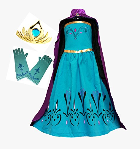 [Elsa Coronation Dress Costume + Cape + Gloves + Tiara Crown (5 years, Blue-Purple)] (Elsa Dresses For Halloween)