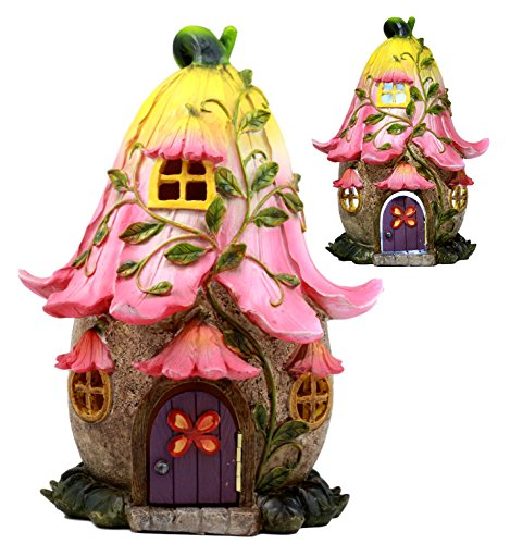(Ebros LED Light Up Miniature Enchanted Fairy Garden Trumpet Lily Cottage House with Moving Door Figurine)