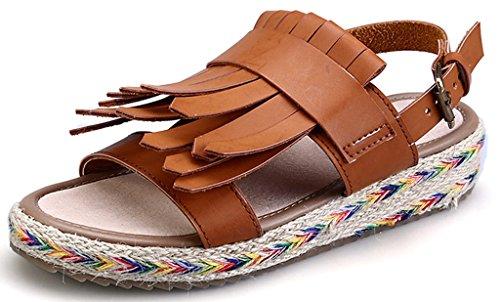 CAMSSOO Women's Retor Gladiator Ankle Strap Thongs Slingback Open Toe Rattan Side Tassels Sandals Brown