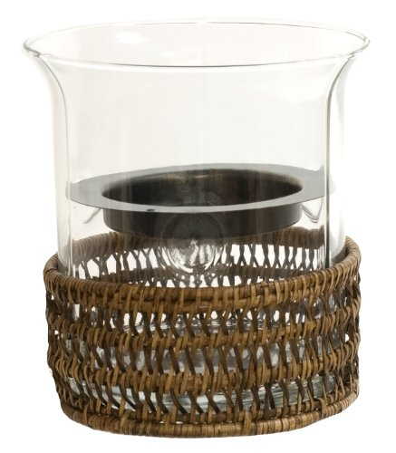 Small Glass Hurricane Candle Shade w/ Woven Rattan Casing, 6