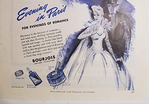 Bourjois Evening in Paris Perfume Powder Rouge 1942 Ad