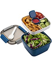 Bento Box lunchbox voor kinderen, met vakken en bestek voor volwassenen, BPA-vrij, 1500 ml, broodtrommel voor school, werk, picknick, reizen, geschikt voor magnetron en vaatwasser, blauw