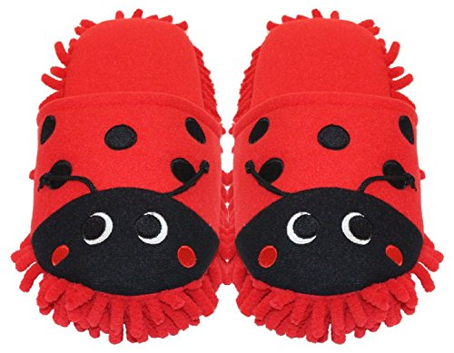 HomeIdeas Women's Plush Cute Animal Microfiber Mop Cleaning House Slippers, Shoes For Women 8-9 (L, Red Ladybug)