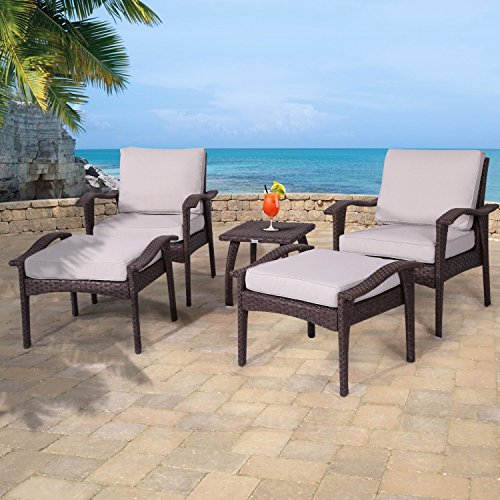 Diensday Outdoor Furniture | Patio Conversation Sets 5-Piece Lounge Chair & Ottoman Set | All Weather Brown Wicker Deep Seating with Beige Waterproof Olefin Cushions & Coffee Side Table ()