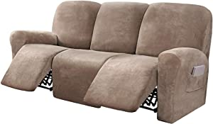 FantasDecor 8 Piece Stretch Velvet Recliner Sofa Cover Reclining Couch Covers for 3 Seater Couch Furniture Covers for Recliner with Side Pocket, Soft Thick Form Fitted (Large, Taupe)