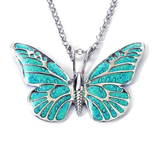 925 Sterling Silver Butterfly Necklace Pendant Sea Green Polymer Clay Handmade Jewelry, 16.5