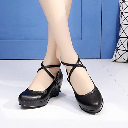 GTVERNH-Ein Quadrat Tanz Modern Dance Schuhe Dickem Mit Dickem Schuhe Tanzschuhe Modische Schuhe Drei - Schritte - Schuhe Schwarze,39 - 2c26d1