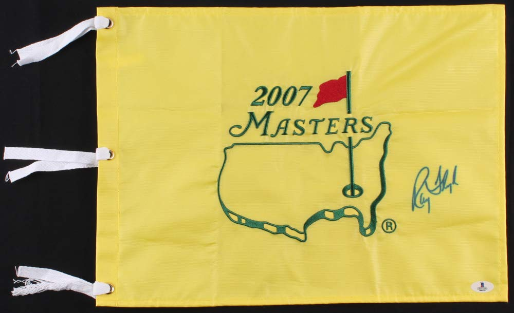 RAYMOND FLOYD SIGNED 2007 MASTERS GOLF TOURNAMENT PIN FLAG w/BECKETT SERIAL NO.