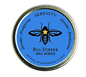 Pure Organic Aromatherapy Beeswax Tins - 1.7 Ounces - By Big Dipper Wax Works Inc. (Serenity)
