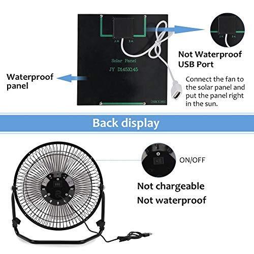 la p/êche la Navigation de Plaisance Cafopgrill 5.2W Ventilateur portatif aliment/é par Panneau Solaire USB pour la Ventilation ext/érieure en Plein air Le Camping