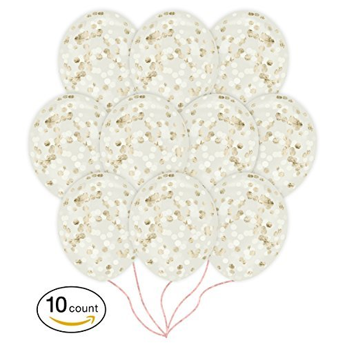 Champagne & Ivory Confetti Balloons | 10 Pack Large 18