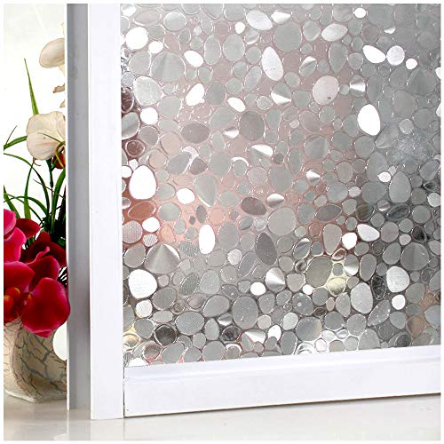 Bloss Window Film Privacy Static Cling Non-Adhesive Window Films Handstone Window Shades Decorative Pebble Glass Films Home Window Contact Paper 17.7-inch By 78.7-inch