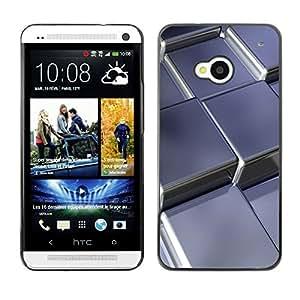 Cubierta de la caja de protección la piel dura para el HTC ONE M7 2013 - Abstract Metal Cubes