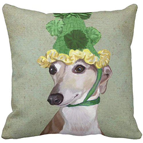 Throw Pillow Cover Dog Greyhound in Green Hat Steampunk Decorative Pillow Case Home Decor Square 18 x 18 Inch Pillowcase