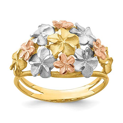 14K Tri Color Gold Plated Two-Tone & White Rhodium Brushed & Polished Diamond Cut Plumeria Ring